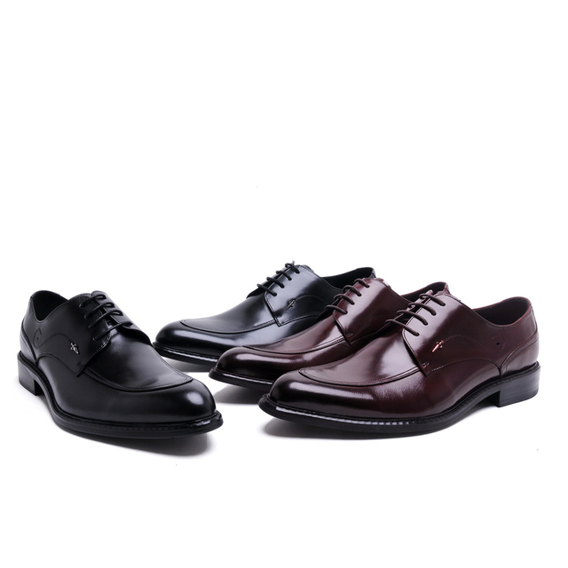 2017 British Style Fashion Men Oxford Wedding Male Lace-Up Pointed Toe Office Genuine Leather Dress Shoes Black/Red Size 38-44