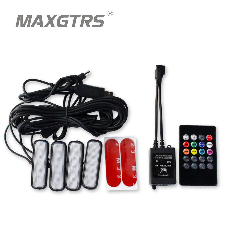 4x USB New Car Interior Atmosphere Neon Light LED Multi Color RGB Voice Sensor Sound Music Decor Lamp Wireless Remote Control