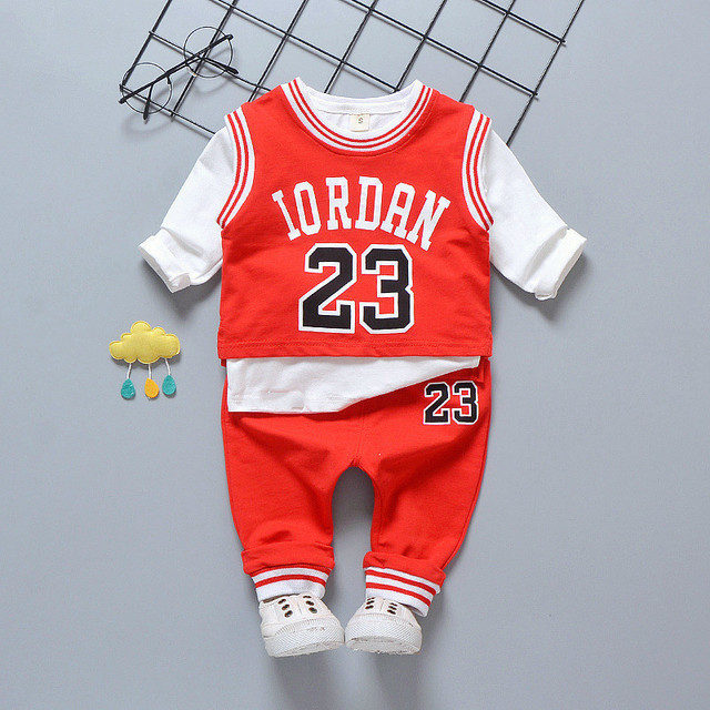 7e7091e81da7 2018 Autumn Children 3pcs Baby Basketball Boy Girl Clothing Vest Tshirt  Pants Suit Long Sleeves Trousers Sleeveless Garment Sets