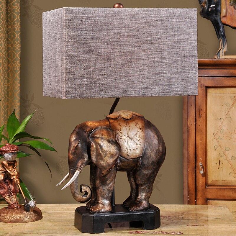 Юго-Восточной Азии стиль слон настольная лампа прикроватные лампы смолы гостиная спальня домашнего освещения творческий ретро настольная ...