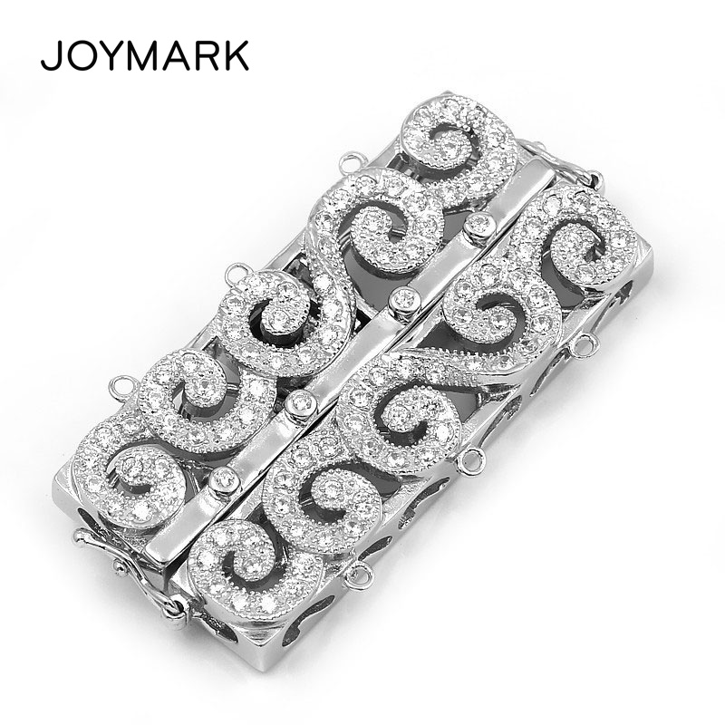 3 Strands Sterling Silver Pave Zircon Rectangle Multifunction Double Safe Box Clasps Pearl Necklace Connector Charm SC-CZ0313 Strands Sterling Silver Pave Zircon Rectangle Multifunction Double Safe Box Clasps Pearl Necklace Connector Charm SC-CZ031