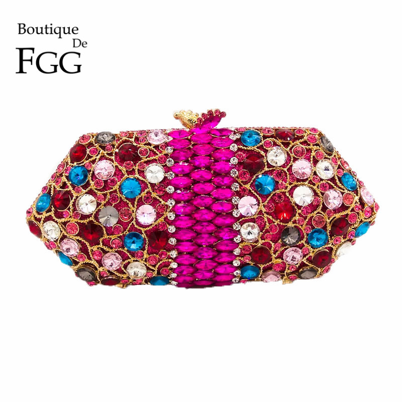 Dazzling Hollow Out Multi Crystal Women Evening Bag Diamond Metal Clutches Wedding Cocktail Party Box Clutch Rhinestones Handbag gold plating floral flower hollow out dazzling crystal women bag luxury brand clutches diamonds wedding evening clutch purse