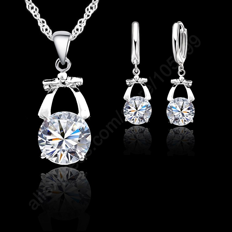 Grace Bowknot With Shiny AAA Cubic Zirconia Crystal Pure 925 Sterling Silver Woman Jewelry Sets Earring+Necklace For Party ...