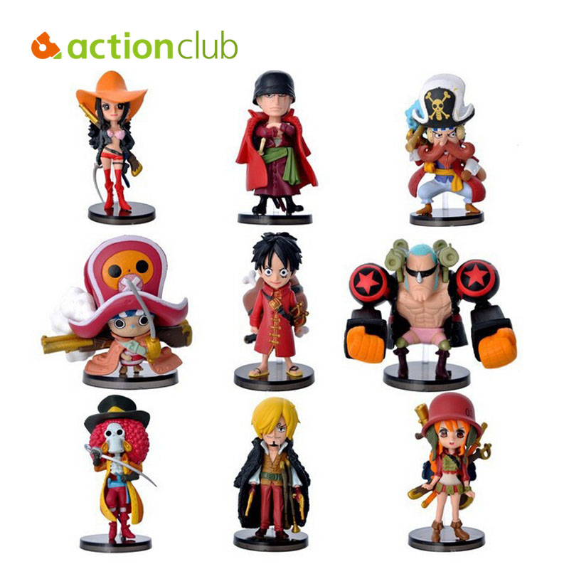 9pcs/set mini One Piece Figure New Anime Figures Luffy + Action Classic Collection Model Toys Brinquedos