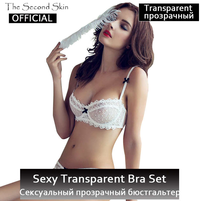 Transparent Unlined Half Cup Sexy   Bra     Set   Ultra Thin Hollow Lace   Bra   And Panty   Sets   Women Underwear Lingerie Plus Size Brassiere