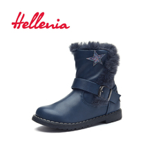 Hellenia Toddler kids boots girls eco Leather Shoes short plush lining ankle Boot boys with stars spring Autumn blue size 22-27
