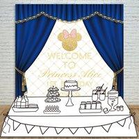 Custom Royal Blue Mickey Mouse Prince Princess Baby Shower backgrounds Computer print birthday backdrops
