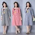 2017 New Spring Cotton Linen Vintage Dress Loose Clothes for Pregnant Women Plus Size XXL Clothing For Pregnancy Wear CE471