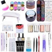 DIY Nail Art Suit UV Gel Polish USB Nail Lamp Cleaner Dipping Powder 12 Color Rhinestones 3 Bag Tip Guides and So On