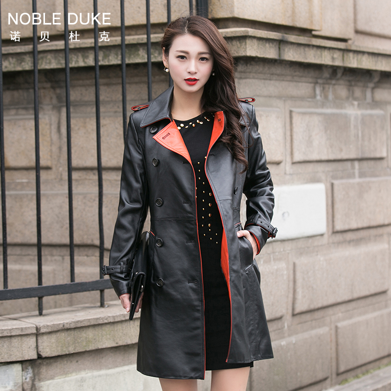 Online Get Cheap Women Leather Trench Ladies Long Coat Real ...
