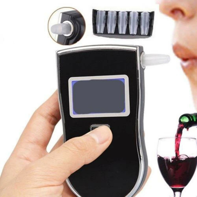 Professional High Sensitivity Alcohol Meter Analyzer Alcohol Breath Tester Breathalyzer 5 Mouthpieces