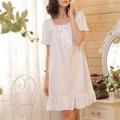 2016 Marca Del Sueño Salón Mujeres ropa de Dormir de Algodón Camisones Sexy Ropa Interior Vestido de Casa Camisón Blanco Plus Size # P3