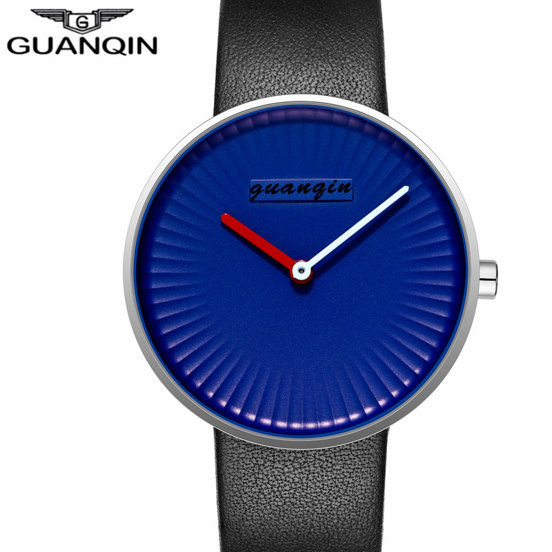 цены GUANQIN Clock Men Simple Blue Mens Watch Black Leather Strap Quartz Watch Waterproof Creative Wristwatch Mens Best Gifts 2017