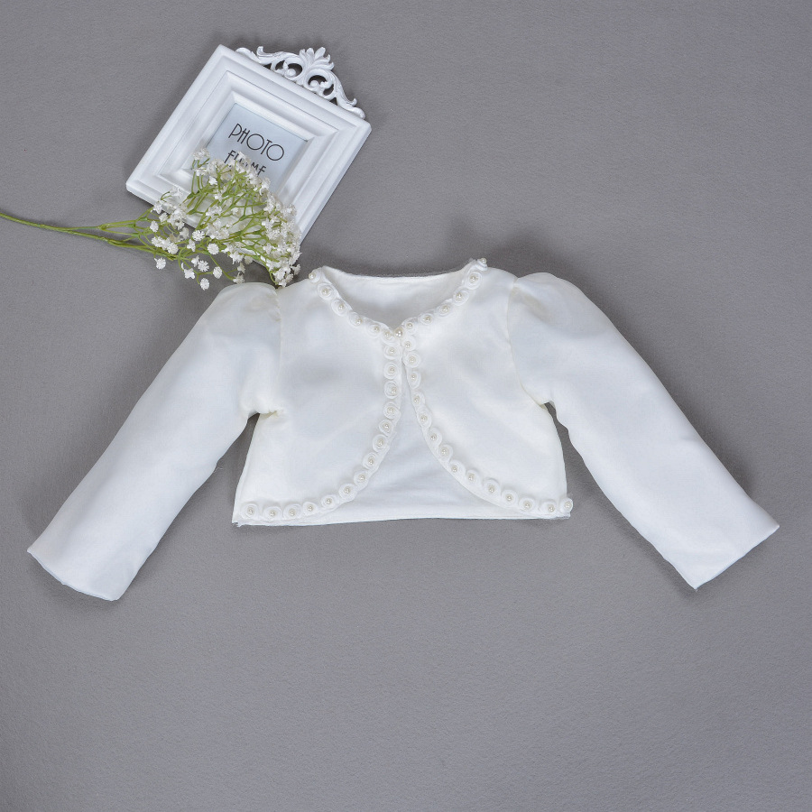 Baby Girls Formal Coat Long Sleeves Beaded Shawl Infant Lace Gauze Cardigan Dress Outer Wear 1st Birthday Outfits Clothing Gift slim shawl collar drape cardigan