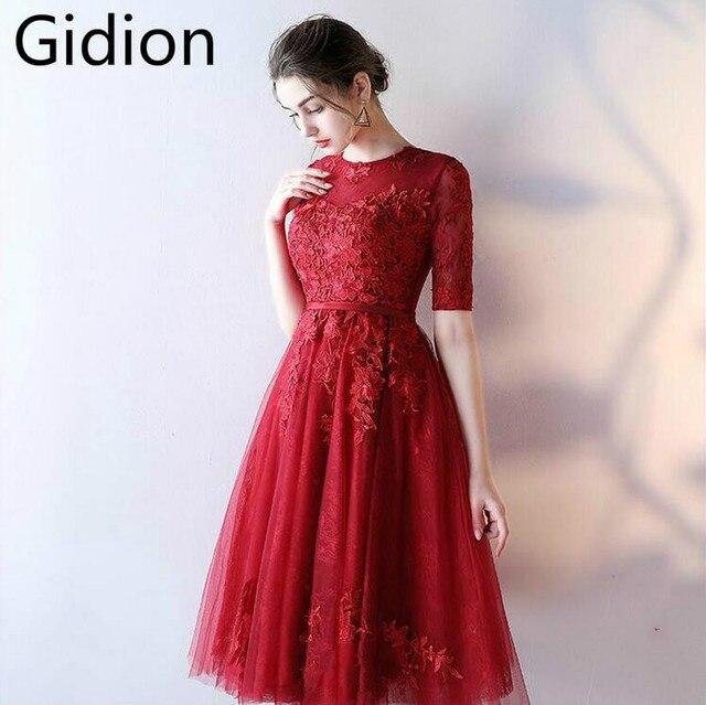 Vestido De Novia burgundy lace short prom dress half sleeve scoop ...