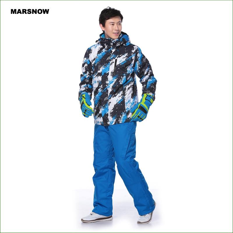 da7faac0c39 MS01K erkekler kayak takım elbise pantolon + ceketler set kış sporları  snowboard giyim erkek kayak su geçirmez rüzgar geçirmez setleri