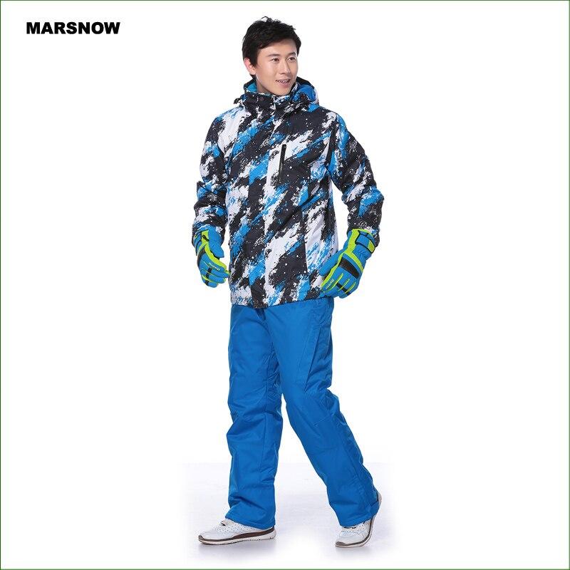 MS01K hommes combinaison de ski pantalon + vestes/ensemble sports d'hiver snowboard vêtements hommes ski ensembles imperméable coupe-vent