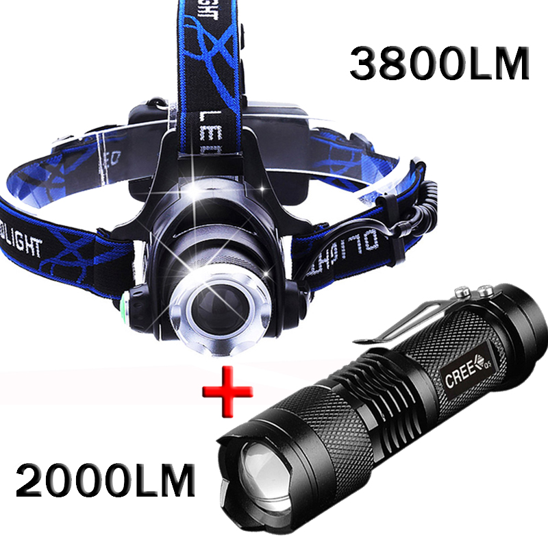 3800 Lumens LED Headlight CREE T6 18650 Head lights head lamp +2000lm Cree Q5 Flashlight Linterna Potente Led Torche lumiparty 4000lm headlight cree t6 led head lamp headlamp linterna torch led flashlights biking fishing torch for 18650 battery