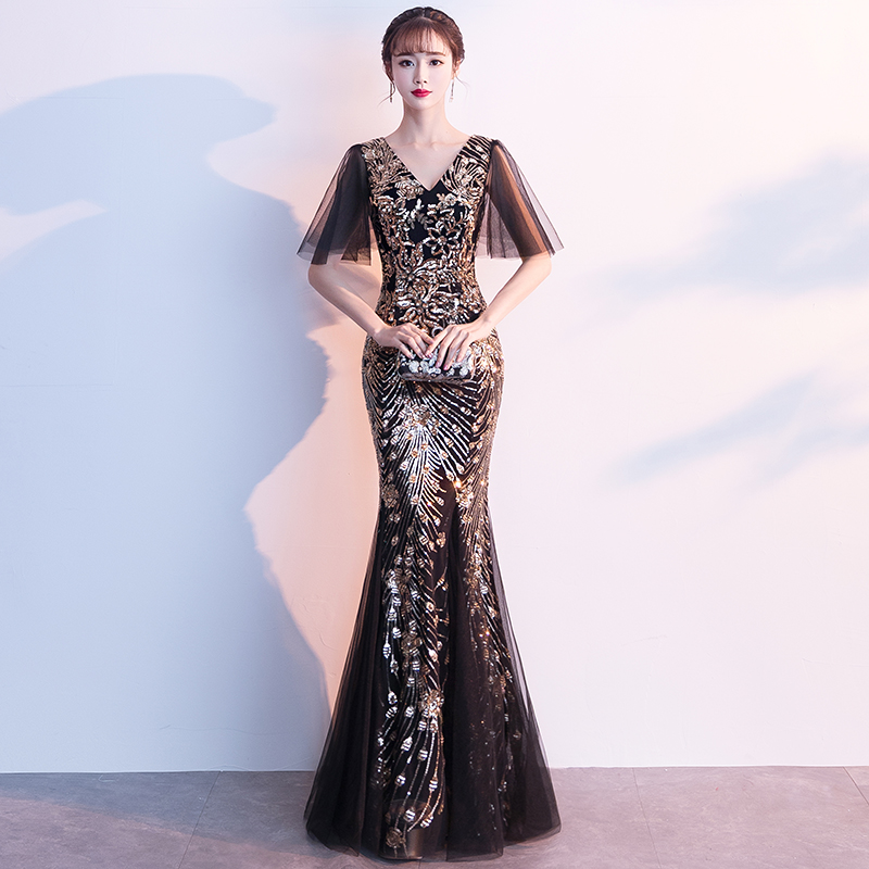 Golden Glitter Sequin Short Sleeves Mermaid Silver   Prom     Dress   2019 Sexy Plus Size African Formal   Dresses   Graduation Party Gown
