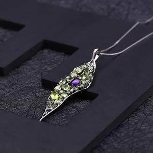 Image 3 - GEMS BALLET colgante de Plata de Ley 925 con gema de peridoto de amatista Natural, collar con colgante de palacio Vintage para mujer, joyería fina