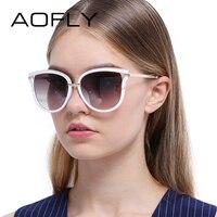 AOFLY Sunglasses Women Cat Eye Sunglasses Vintage Luxury Brand Designer Reflective Mirror Sun Glasses Metal Legs