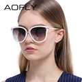 AOFLY Sunglasses Women Cat Eye Sunglasses Vintage Luxury Brand Designer Reflective Mirror Sun Glasses Metal Legs UV400 Lens