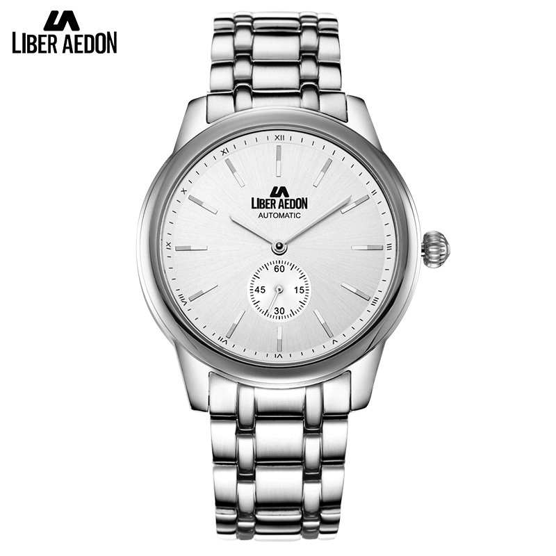 Liber Aedon Silver Stainless Steel Top Brand Luxury Mens Watch Anique Design Leisure Sport Quartz Classical Men Watches liber aedon gold stainless steel strap top brand luxury women watch anique design sport quartz elegant fashion women watches