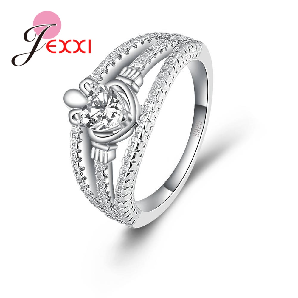 Fashion 925 Sterling Silver Creative Heart-shaped Zircon Simulation Crystals Hollow Ring Female Engagement Jewelry