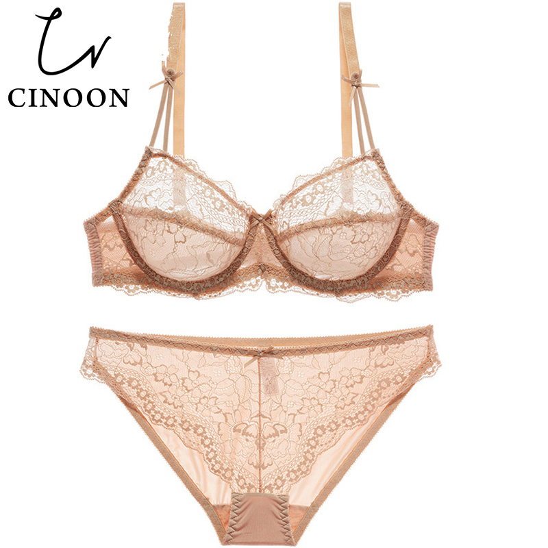 CINOON Sexy lingerie thin cup   Bra     Set   plus size Lace brassiere Transparent underwear Push up intimate women panty   sets