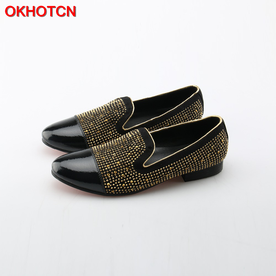 OKHOTCN Men Loafers Pointed Toe Leather Shoes Fashion Gold Rivets Studded Men Flat Shoes Breathable Loafers Popular Men Shoes odetina fashion women pointed toe rivets loafers 2017 spring