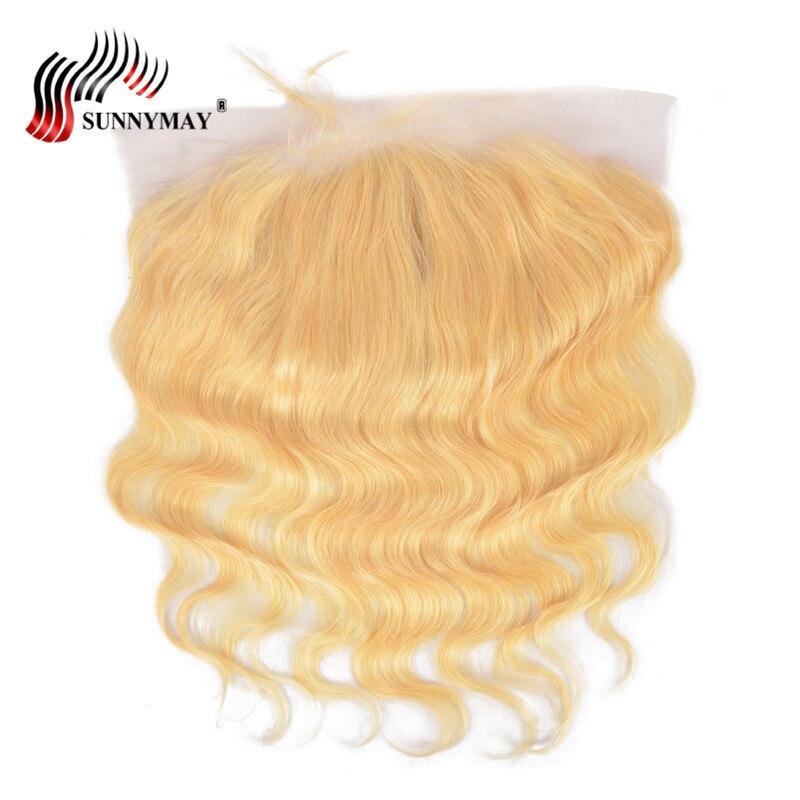 Sunnymay 13x6 Blond Snörning Frontal Closure 613 Färg Brasiliansk - Mänskligt hår (svart) - Foto 4