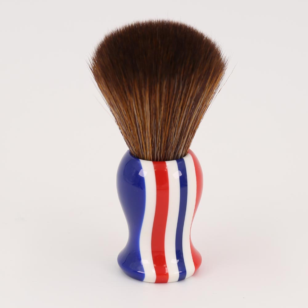 22mm Brown Synthetic Hair Knot Stripe Color Handle Shaving Brush for Men