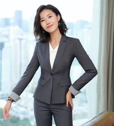 Высокое качество Формальные женские блейзеры и куртки серое пальто Женская Деловая одежда OL стили
