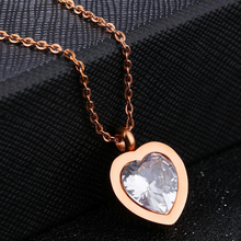 Heart Pendant Rose Gold Stainless Steel Pendant Necklace