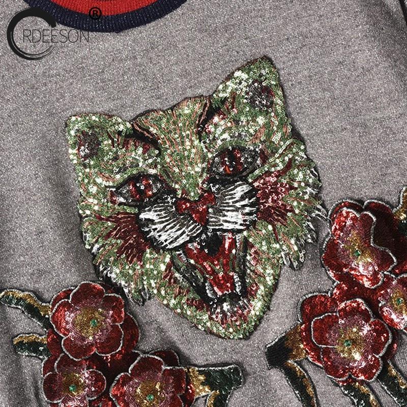 Chat Ordeeson Fleurs Chandail Et D'hiver Marque Femmes Tricoté Col Rond Pull Femme Pulls Sequin Chandails Jumper Emballement e9EIbDW2YH