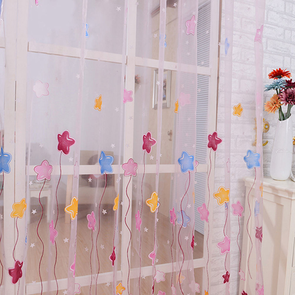 Curtains For Kids Room: Lovely Cartoon Star Print Window Curtains Tulle Voile