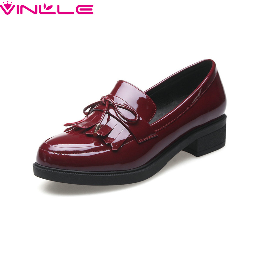 VINLLE 2017 Women Pumps College Style Square Med Heel Vintage Slip on PU Leather Shoes Casual Round Toe Girl  Shoes Size 34-40 2017 shoes women med heels tassel slip on women pumps solid round toe high quality loafers preppy style lady casual shoes 17