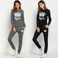 New Women Crown Pattern Print O Neck Long Sleeve Sweatshirt And Pants Tracksuit