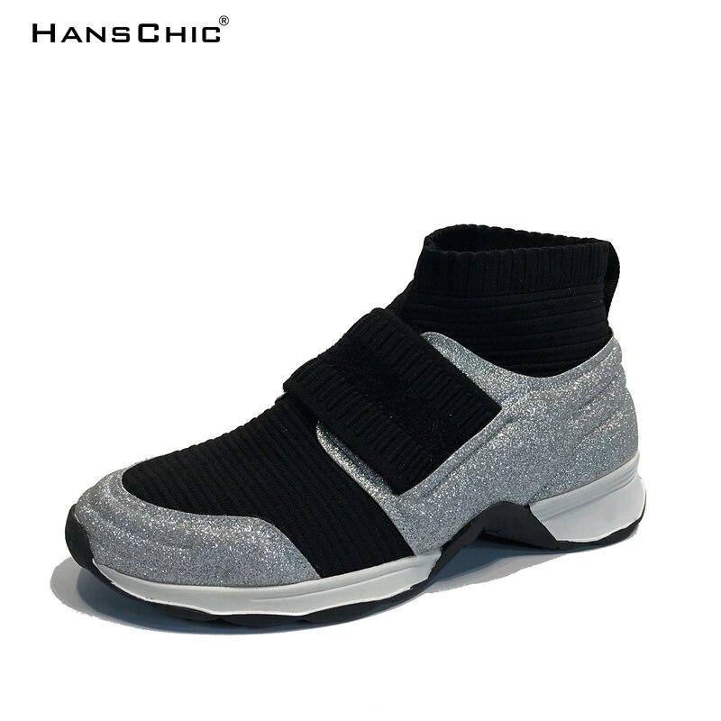 Hanschic 2018 sroing Новое поступление серебро Блёстки дизайнера специальные женские Спортивная обувь Обувь для женщин 88881