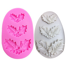 M1031 Christmas leaves Shaped silicone mold for confectionery chocolate fondant cake decoration tree leaf baking tools