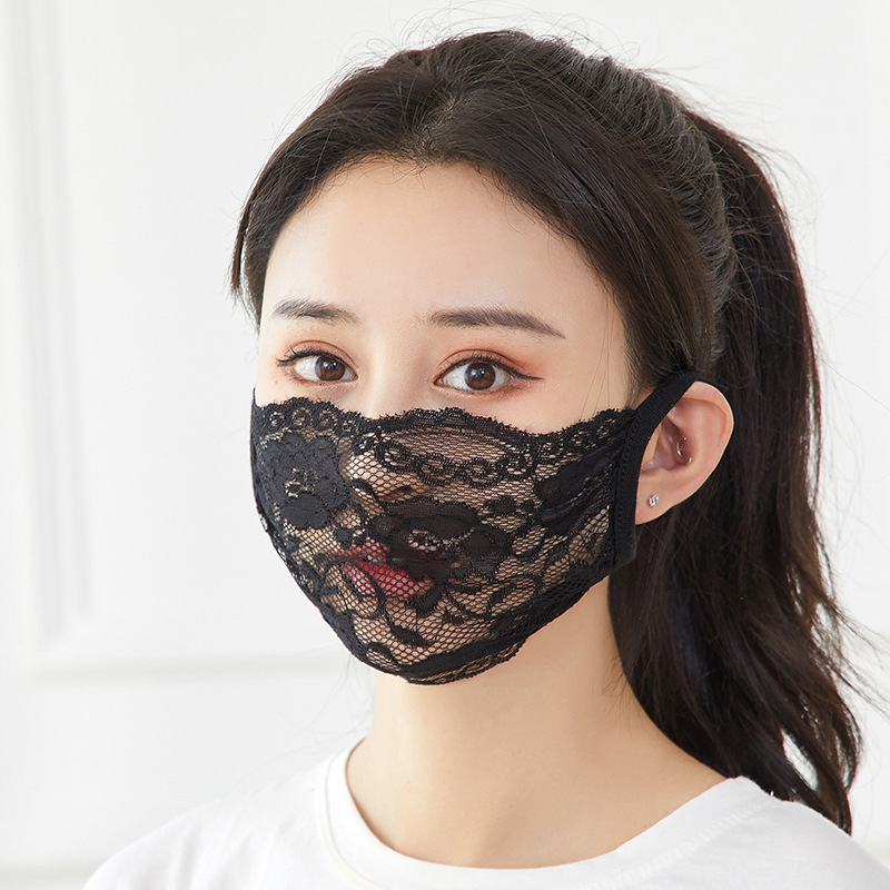 Summer Ladies Sexy Black Lace Single Layer Sun Mask Outdoor Riding Protection Shame Mask