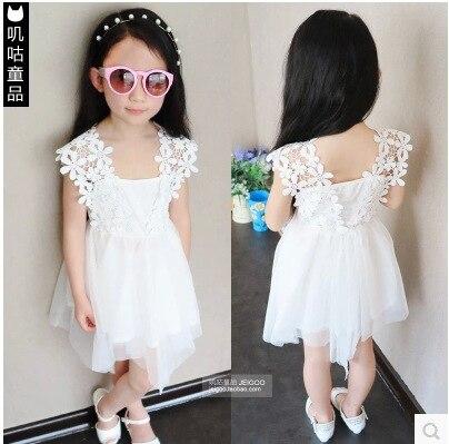 2015 Summer New Lace Girls Sleeveless Dress Crochet Vest Korean Princess Dress White Girl Kids Tutu Dress 156W summer baby girl s dress cloth cherry blossom korean version sleeveless vest dress princess bow tie vestido