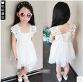 2015 verano nuevo cordón sin mangas del vestido de chaleco de ganchillo vestido de la princesa coreana blanco chica Kids Tutu Dress 156 W