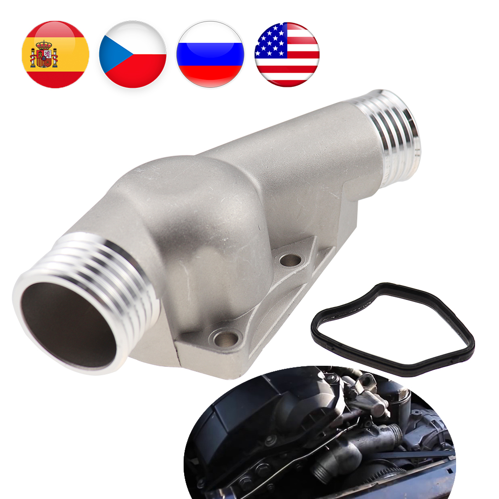 Upgraded Aluminum Thermostat Housing Cover with Gasket Brand New for BMW M3 Z3 E34 E36 11531722531 11531740437 Polished