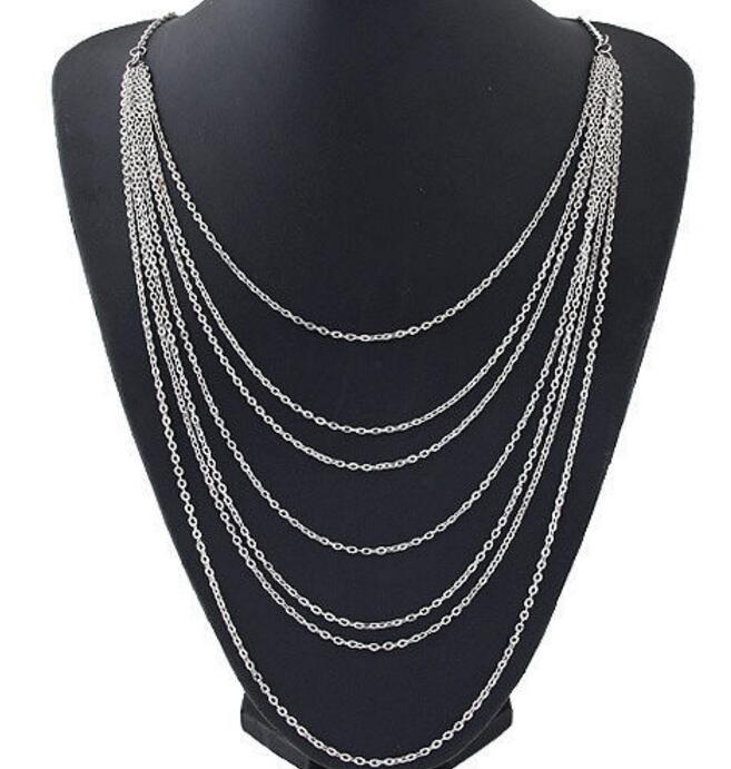 35d9bbf85574 Vintage plata chunky cadena gargantilla COLLAR COLGANTE multi capas  Amuletos collar BiB declaración collar mujeres joyería 1 unids q796