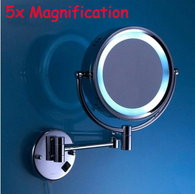 5X Magnification Led mirror brass cosmetic mirror wall mounted bathroom beauty mirror double faced retractable makeup mirror