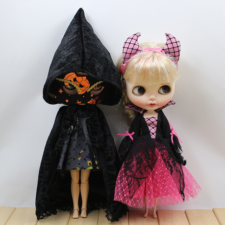 T02-X081 Blyth Doll clothes 1/6 dolls Accessories Joint body handmade girl Halloween cosplay party Little devil suit pure handmade chinese ancient costume doll clothes for 29cm kurhn doll or ob27 bjd 1 6 body doll girl toys dolls accessories