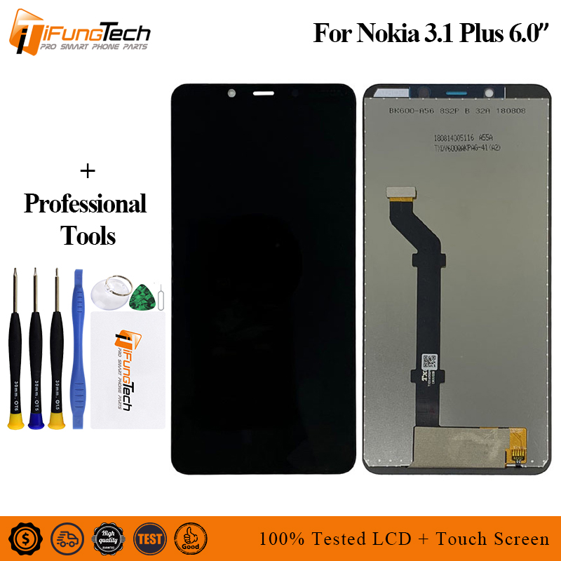 6.0 720x1440 Replacement LCD For Nokia 3.1 Plus Display Touch Screen Digitizer Sense Assembly