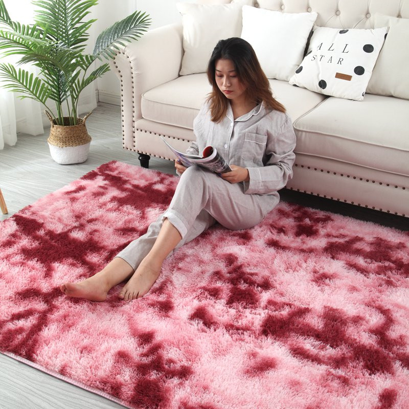 Mottled Tie-dye Gradient Carpet Living Room Coffee Table Mat Gradient Thick Floor Rug Soft Skin Blanket Encryption Thick Mat