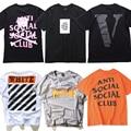 2017 VLONE OFF WHITE ASSC PALÁCIO Skates THRASHER T Shirt Homens Justin Bieber Hip Hop ANTI SOCIAL CLUB Tee de Manga Curta